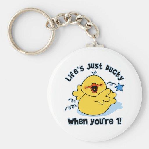 Life's Ducky 1st Birthday Basic Round Button Keychain