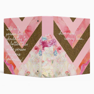 Life's flowers pink and gold binder