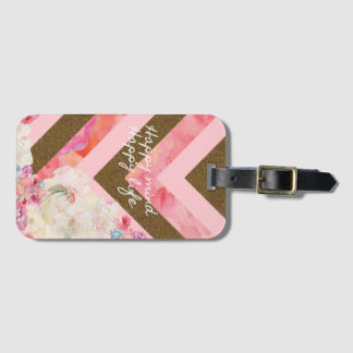 Life's flowers pink and gold luggage tag