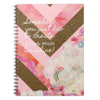 Life's flowers pink and gold notebook