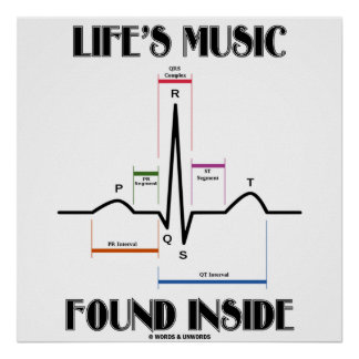 Life's Music Found Inside (ECG/EKG Heartbeat) Print