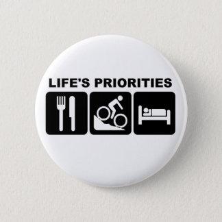 Life's priorities, biking 2 inch round button