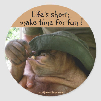 Life's short;, make time for fun classic round sticker