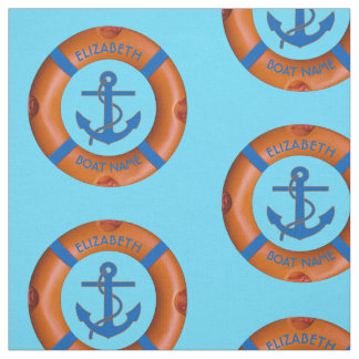 Lifesaver With Anchor And Sea Boat Or Yacht Owner Fabric