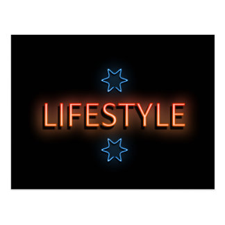 Lifestyle neon sign. postcard