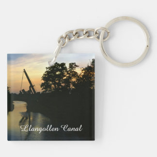 Lift bridge at sunset on the Llangollen Canal Double-Sided Square Acrylic Keychain