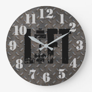 LIFT Diamond Plate Steel Industrial Looking Large Clock