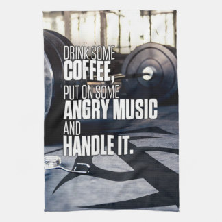 Lift Heavy Inspiration - Coffee and Angry Music Kitchen Towel
