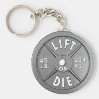 "Lift Or Die 45 lb Plate on 2.25"" Keychain. Basic Round Button Keychain"