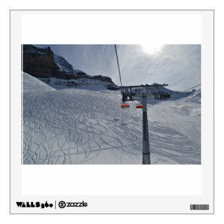 Lift Themed, Skier'S Tracks Zigzag Across Snow As Wall Decal
