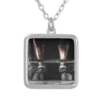 Lift Weights Silver Plated Necklace