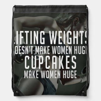 Lifting vs Cupcakes Make Women Huge - Funny Gym Drawstring Bag
