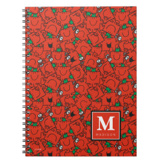 Lifting Weights Red Green Pattern | Add Your Name Spiral Notebooks