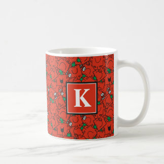 Lifting Weights Red & Green Pattern | Monogram Coffee Mug