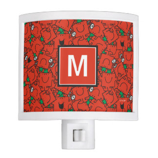 Lifting Weights Red & Green Pattern | Monogram Nite Light