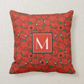 Lifting Weights Red & Green Pattern | Monogram Throw Pillow