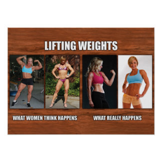 Lifting Weights - What Women Think Happens Poster