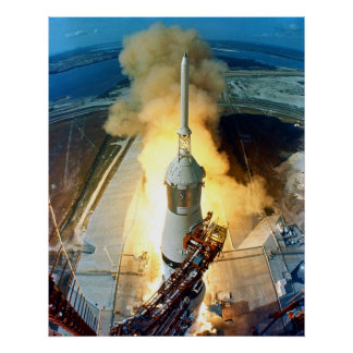 Liftoff of the Apollo 11 Saturn V Space Vehicle Poster