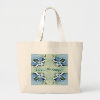 Light Airy 'Live Life Simply Lifestyle Large Tote Bag