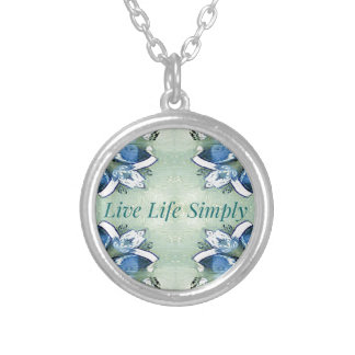 Light Airy 'Live Life Simply Lifestyle Silver Plated Necklace