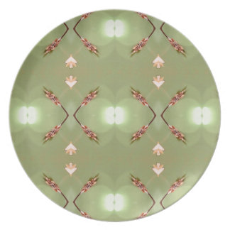 Light Airy Peach Lime Artistic Pattern Party Plates