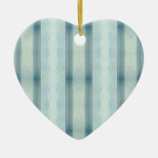 Light Airy Soft pastel Teal Striped Pattern Ceramic Heart Ornament