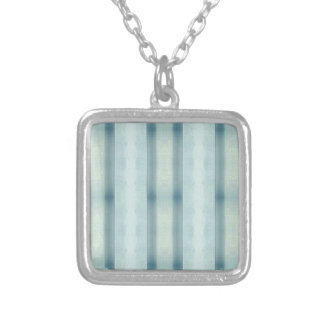 Light Airy Soft pastel Teal Striped Pattern Silver Plated Necklace