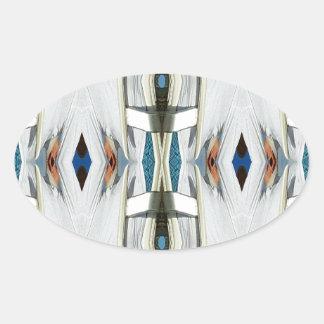 Light Airy Southwest Tribal Pattern Oval Sticker