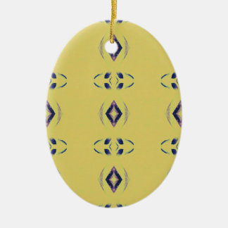 Light &Airy Yellow With Purple Diamond Shapes Ceramic Oval Ornament