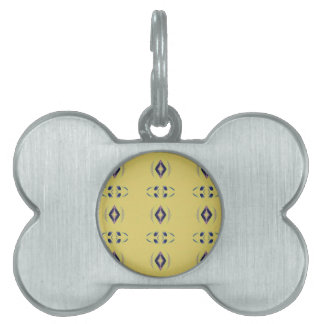 Light &Airy Yellow With Purple Diamond Shapes Pet Tag