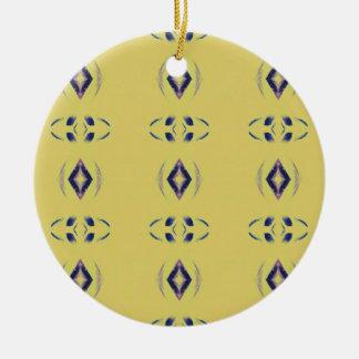 Light &Airy Yellow With Purple Diamond Shapes Round Ceramic Ornament