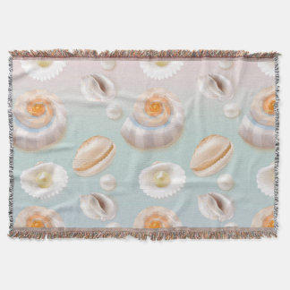 Light Aloha SeaShell Sea Shell Pearl Pattern Throw Blanket
