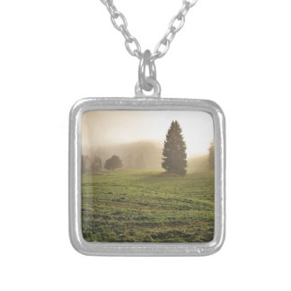 Light amongst the trees silver plated necklace