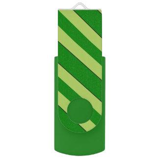Light And Dark Green Stripes USB Flash Drive