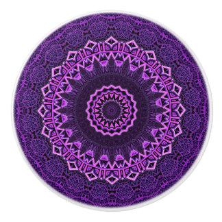 Light And Dark Purple Kaleidoscope Ceramic Knob