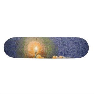 Light and halo around a rocket skateboards