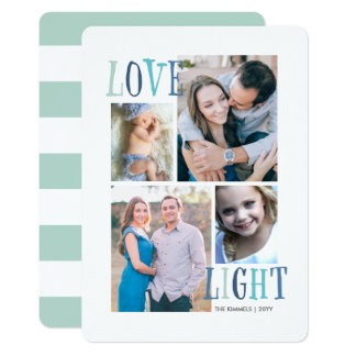 Light and Love 4 Photo Hanukkah Card