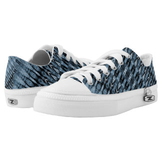 Light and navy blue stripe pattern Low-Top sneakers