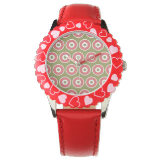 Light and Sweet Tan Coral Circle Pattern Wristwatches