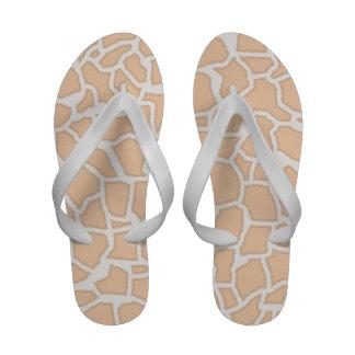Light Apricot Giraffe Animal Print Flip-Flops