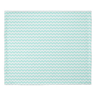 Light Aqua Blue Chevron Stripes Duvet Cover