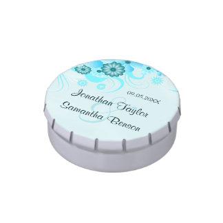 Light Aqua Blue Floral Wedding Favor Round Tins