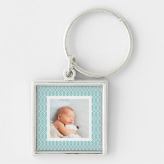 Light Aqua | Lattice Framed Photo Keychain