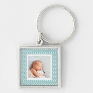 Light Aqua | Lattice Framed Photo Silver-Colored Square Keychain