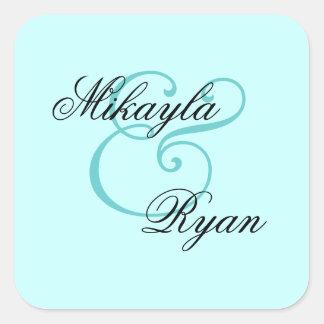 Light Aqua Turquoise Envelope Seal Wedding Square Sticker