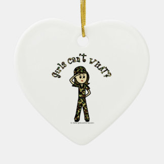 Light Army Woman Ceramic Heart Ornament