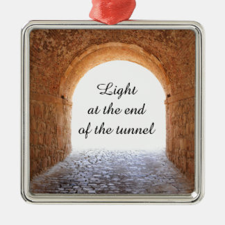 Light at the end of the tunnel metal ornament