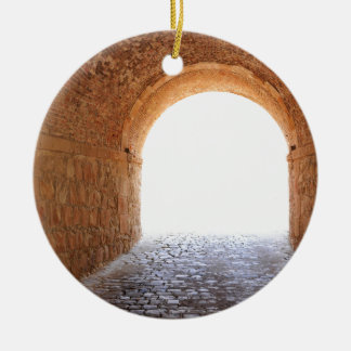 Light at the end of the tunnel round ceramic ornament