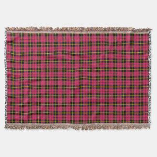 light Autumn pink plaid print, black yellow stripe Throw Blanket