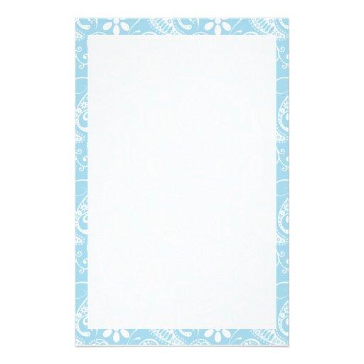 Light Baby Blue Paisley Pattern Stationery